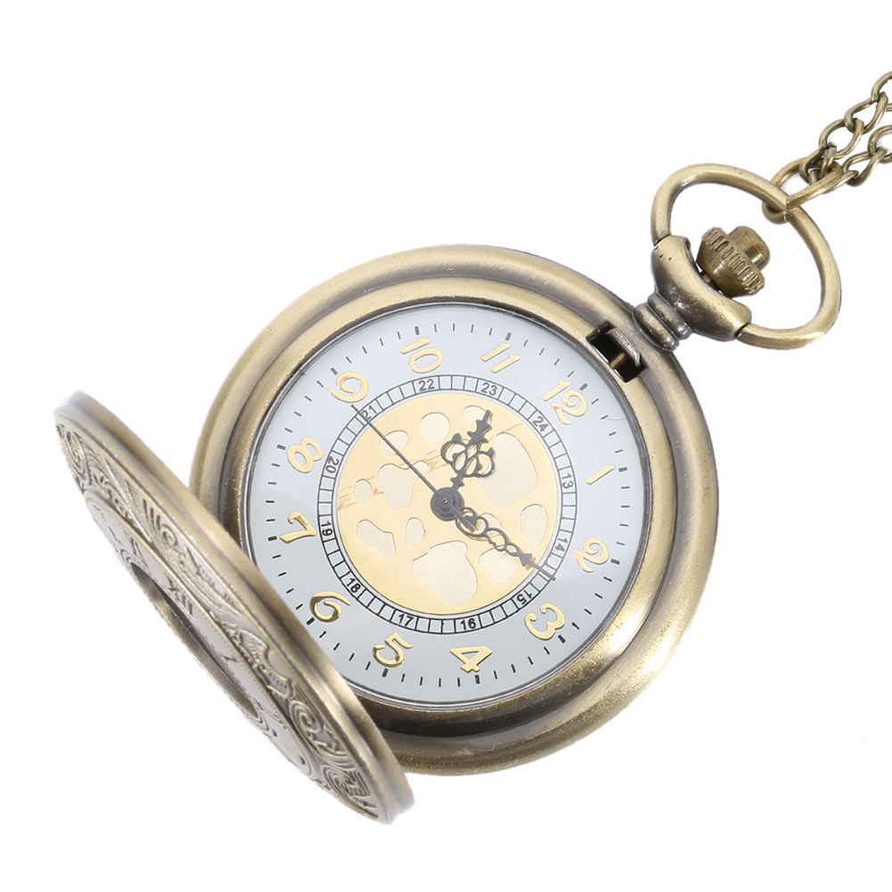 Antique Vintage Roman Number Quartz Pocket Watch Round Case Pendant Necklace Chain Clock Gifts  TT@88