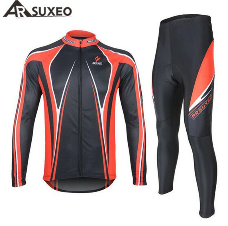 ARSUXEO Men's Cycling Jersey + Tights Pants 3D Coolmax Gel Paded Breathable Long Sleeve Road Bike Bicycle Jersey Clothing Sets arsuxeo cycling short pants
