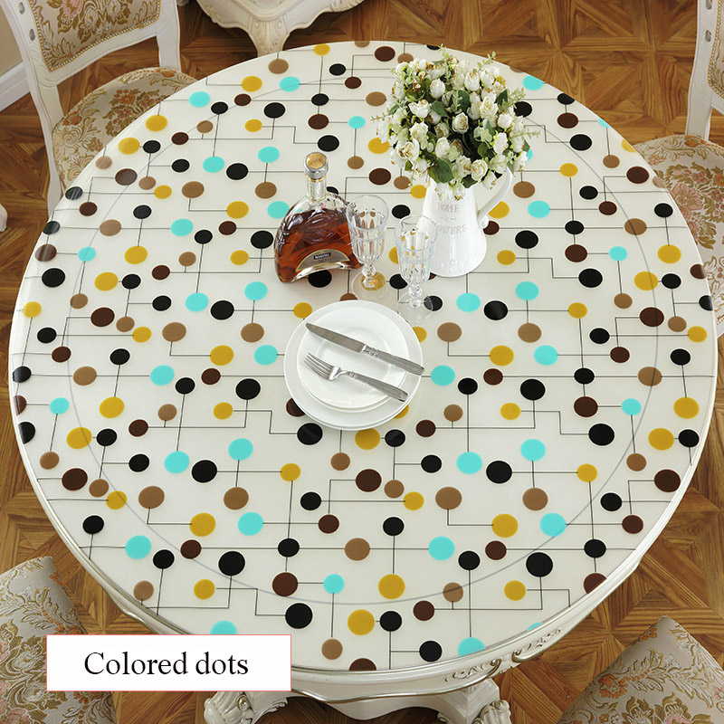 SKTEZO PVC Round Waterproof and Oil-proof Tablecloth for Home Kitchen Tablecloth Kitchen Table Rose Gold Decoration House Pink