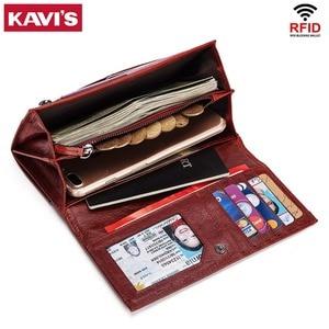 Image 5 - KAVIS portefeuille en cuir véritable pour femmes, porte monnaie pochette pour femmes, avec pince pour sac de téléphone, porte carte, passeport pratique