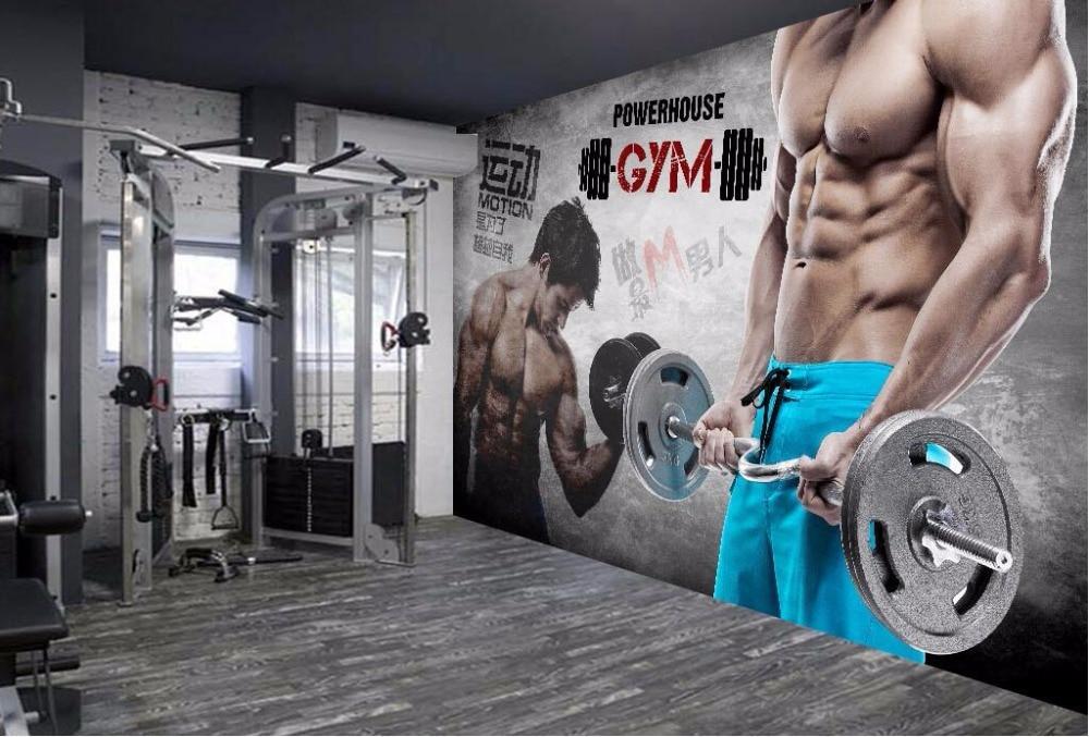 D wallpaper custom mural retro style fitness background