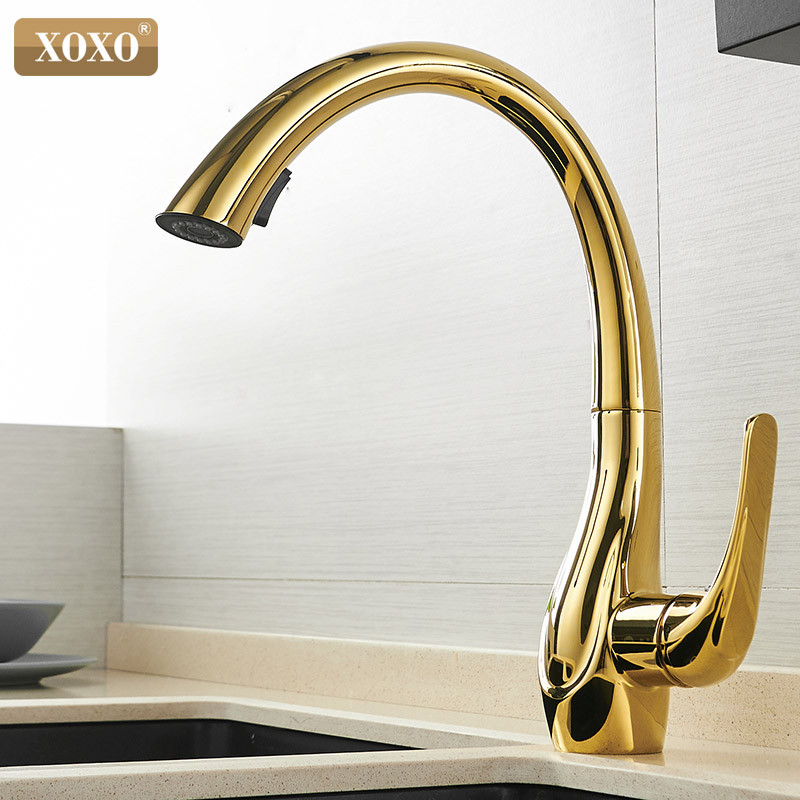 XOXO Kitchen Faucet Cold and hot Pull Out Kitchen Tap Golden Single Hole Handle 360 Degree