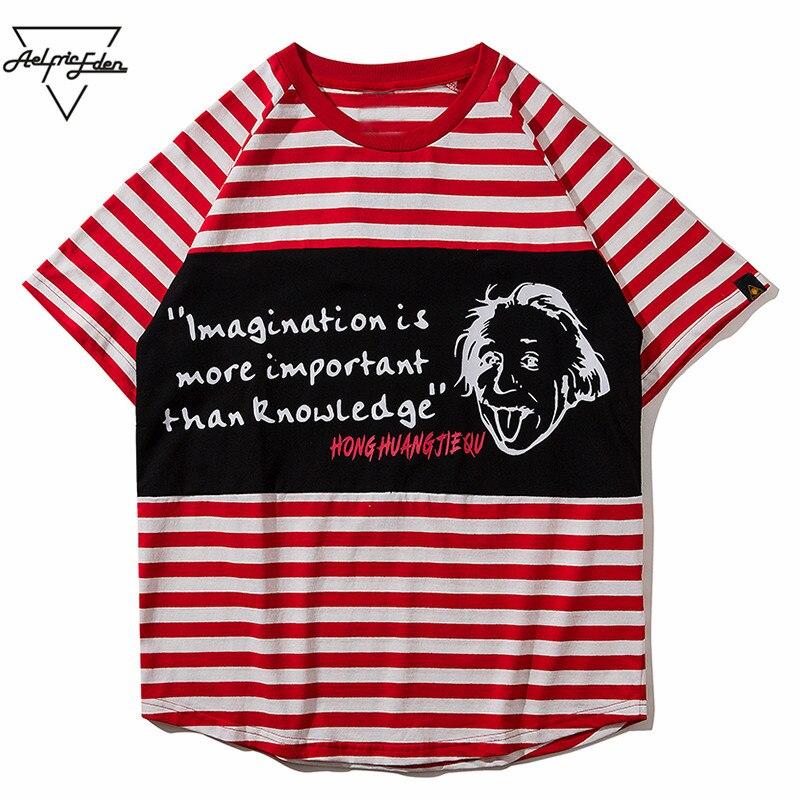 Aelfric Eden Striped Mens T-shirt Short Sleeve Graffiti Letter Character Tshirt Streetwear Summer Short Sleeve Holiday Tee OF030