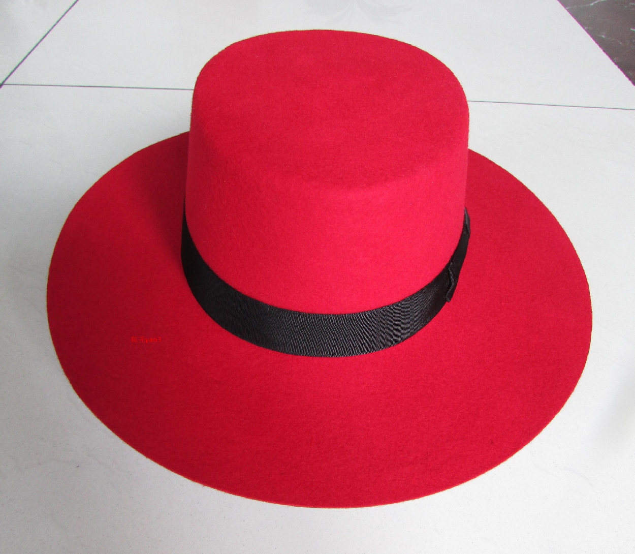 Classic Men Red 100% Wool Felt Fedora Hat Winter W