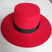 Classic Men Red 100% Wool Felt Fedora Hat Winter Women Blank