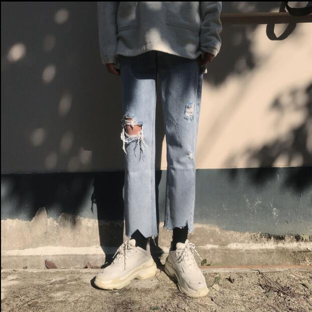 2018 New style street style jeans in spring and summer. Irregular edge 9 S-XL!!! high quality Baggy casual jeans.