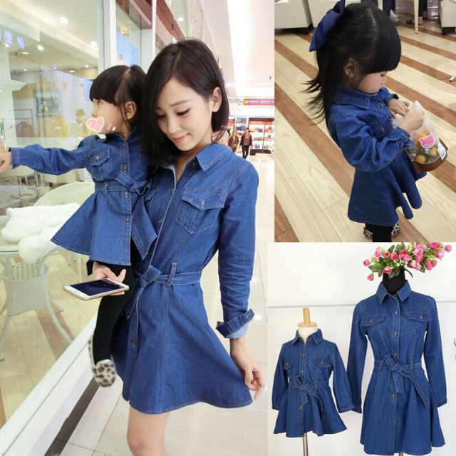 c6120f0575 Fashion Family Matching Mother Daughter Denim Dresses Mom and Daughter  Dress Clothes Family Set Parent-Child Family Clothing YE2