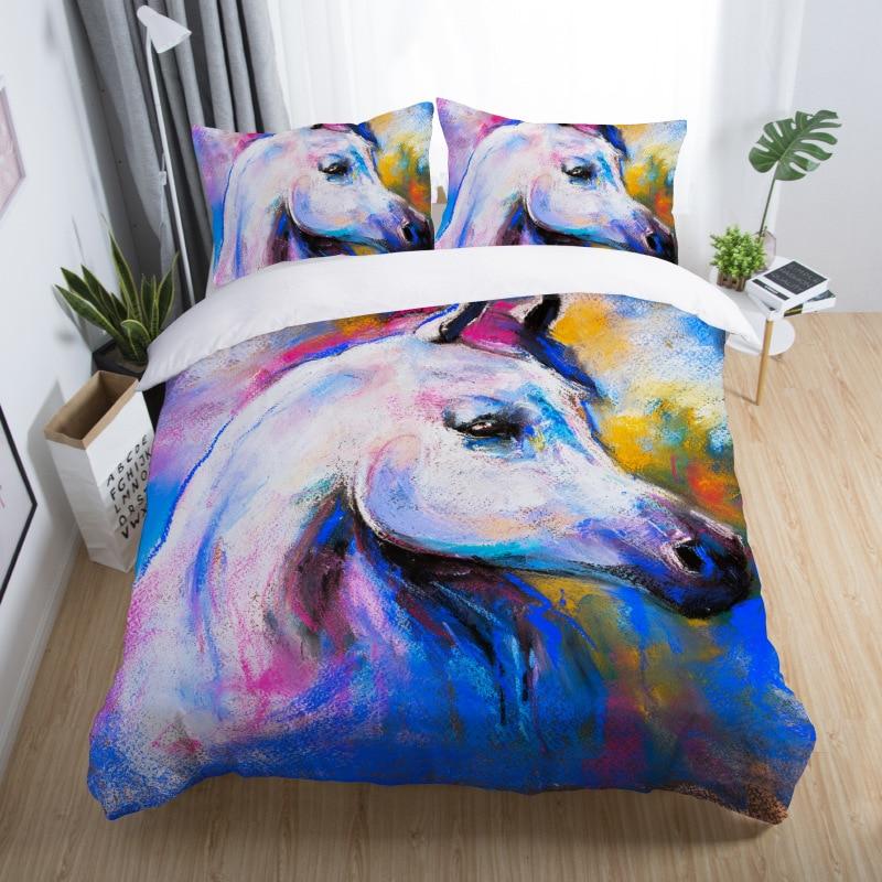3D Horse Bedding Set Animal Print Duvet Cover Set Bedclothes Pillowcase Comforter Cover Set ropa de cama oil painting bedding 5 (8)