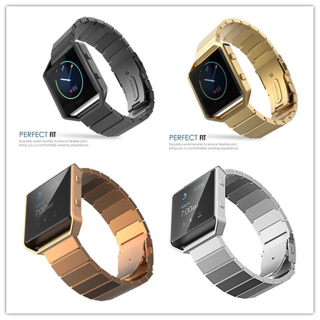 Pulseiras de relógio para fitbit zlimsn alta chama smart watch cinta banda de aço inoxidável preto ouro prata corrente de metal genuíno 4 cor