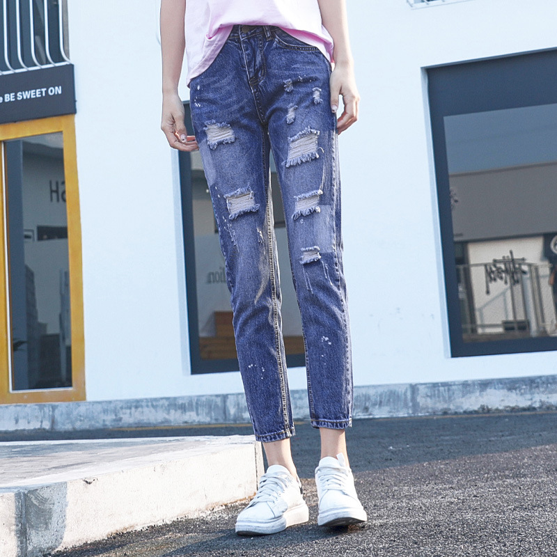 QA731 Boyfriend female denim pencil pants vintage straight mid waist elastic hole ripped jeans for women