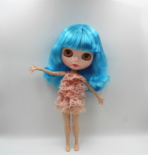 Blygirl Blyth doll Sky blue bangs short hair nude doll 30cm joint body 19 joint DIY doll can change makeup