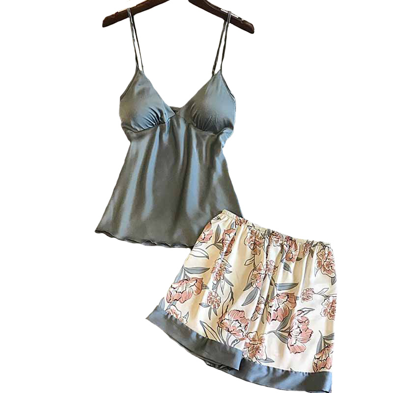Sexy Pyjama Set Floral Printed Summer Ladies Silk Satin Top+Shorts Women Comfort Poplin Sleepwear With Chest Pad Household Wear