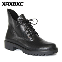XAXBXC Retro British Style Leather Brogues Oxfords Black Short Boot Women Boot Lower Heel Pointed Toe