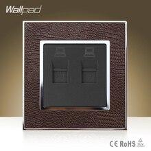 Module Wallpad Luxury Double Rj45 Jack Goats Brown Leather Plate Double RJ45 Internet Data Wall Sockets Free Shipping