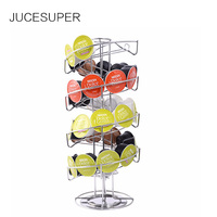 JUCESUPER Stainless Steel Storage Rack Food Coffee Capsules Swivel Shelf For Living Room Kitchen Hotel Snack Storage Shelf