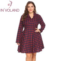 IN'VOLAND Women Vintage Dress Big Size XL 5XL Shawl Collar Long Sleeve Draped Front Large Plaid Swing A Line Dresses Plus Size