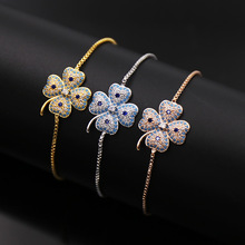 find jewelry wholesale exquisite stereo Blue stone gold color love braceltes white clover zirconium telescopic silver H Bracelet
