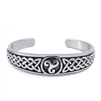 Elfasio Womens Mens stainless steel Bracelet Silver Tone Classic Celtic Knot with Irish Pattern Jewelry