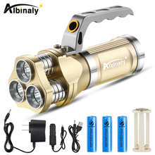 Albinaly Powerful Rechargeable LED Flashlight 3 X T6 Led bead lamp 12000 Lumens searchlight camping lantern with AC/USB Charger