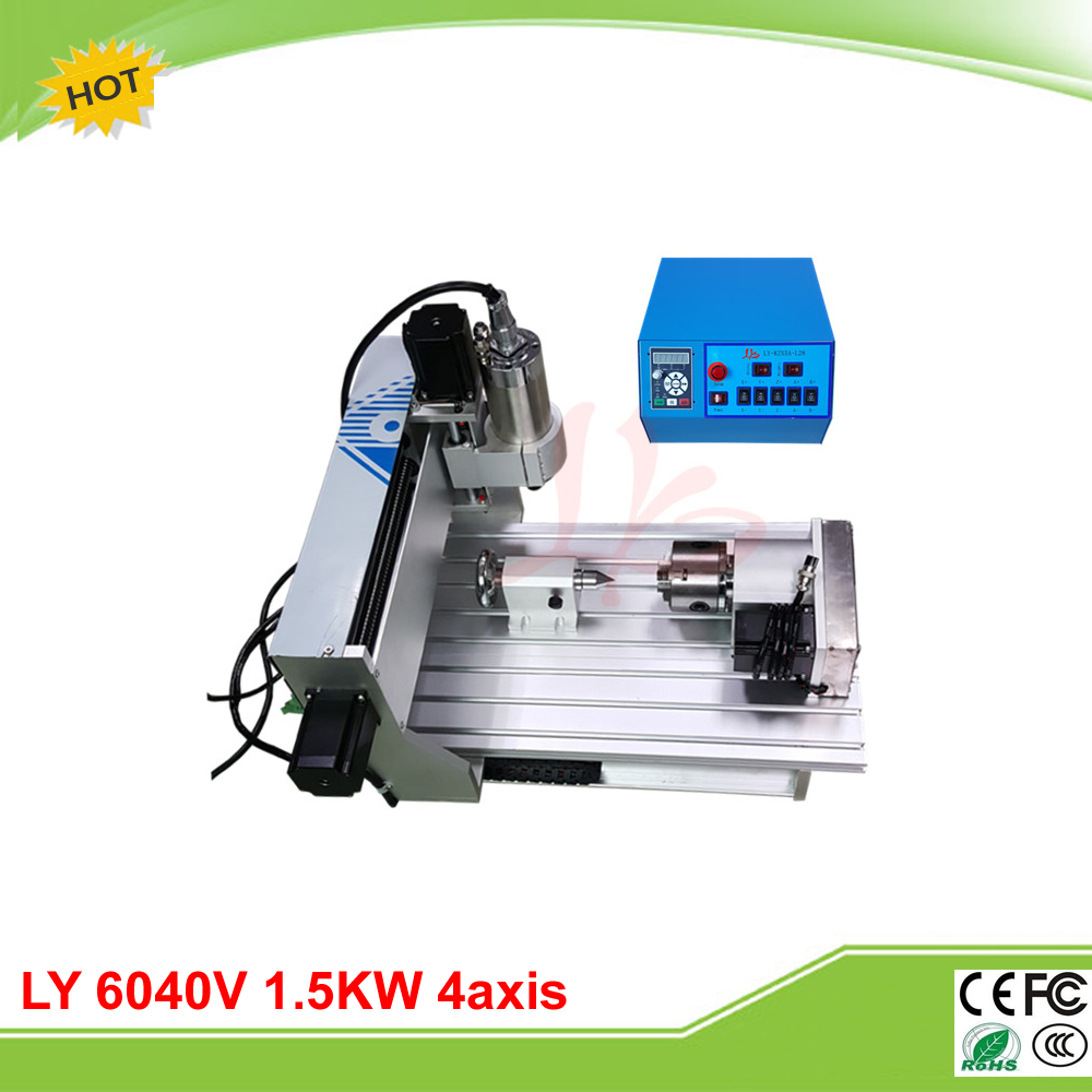 LY CNC 6040V 1.5KW 4 axis mini CNC milling machine router VFD control box free tax to EU cnc 5axis a aixs rotary axis t chuck type for cnc router cnc milling machine best quality