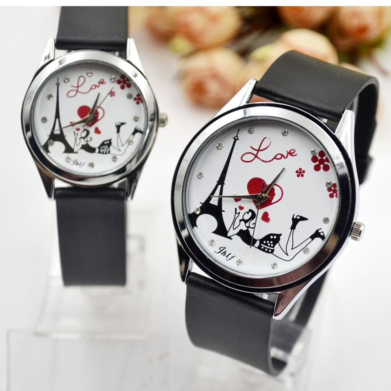 New Fashion Quartz Couple Wristwatch Love Tower Women Casual Simple Student Lovers Watch Boy Girl Gift Clock For Dress