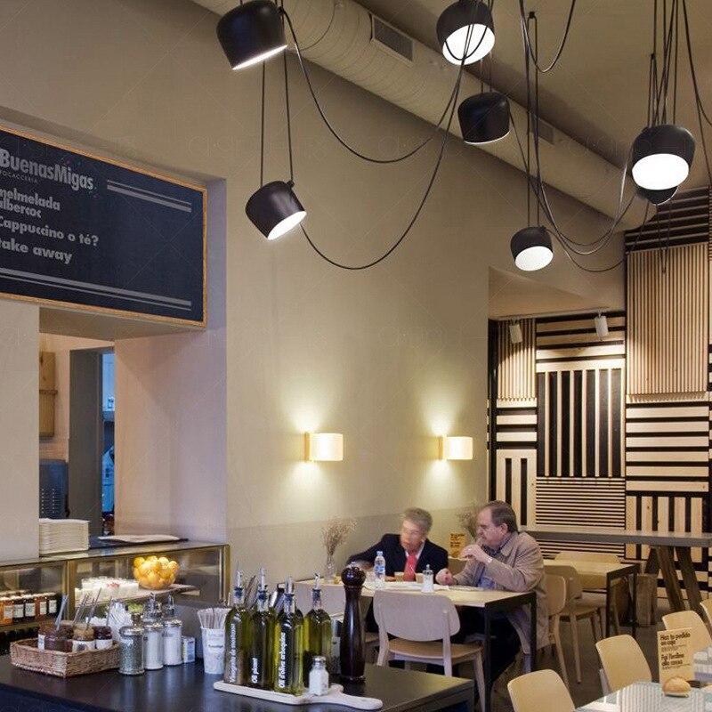 Image 5 - Американский промышленный алюминиевый паук подвесной светильник с акрилом черный белый светодиодный потолочный светильник для офиса кафе бар Декор-in Подвесные светильники from Лампы и освещение