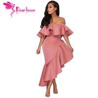 Dear Lover Schulterfrei Kleid Sexy Damen Gelb Kurzarm Asymmetrische Elegante Rüsche Kleid Vestidos Verano 2018 LC61880