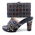 Italy Shoe And Bag Set To Match High Quality Italian Shoe With Matching Bag For Party Colorful Stones Sandal Heel TH16-58
