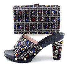 Italien Schuh Und Tasche Set Zu Spiel Hochwertigen Italienischen schuh Mit Passender Tasche Für Partei Bunte Steine Sandale Ferse TH16-58