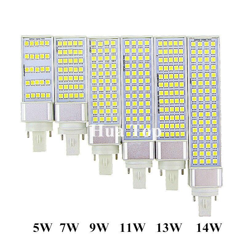 Лампада светодиодные лампы 5 Вт 7 Вт 9 Вт 11 Вт 13 Вт 14 Вт <font><b>G24</b></font> E27 G23 лампы SMD 5050 новинки 180 градусов AC85-265V горизонтальный разъем свет ce rohs