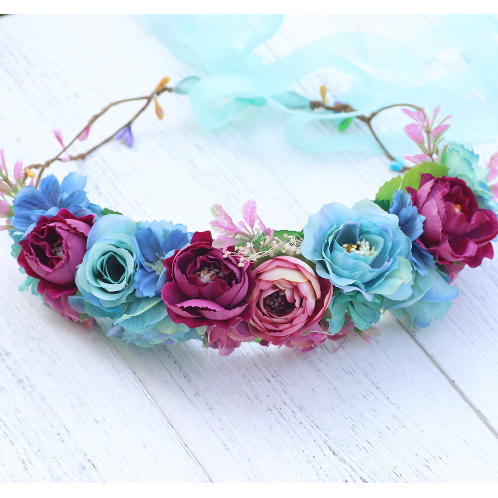 Colorful Flower Headband Woman Girls Flower Headwear Wedding Party
