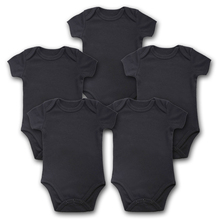 ملابس الاطفال حديثي الولادة 5 قطعة/الوحدة ملابس قصيرة الاكمام مناسبة للصيف الأسود جمبسوت الرضع الجديد ملابس الاطفال والبنات والاولاد