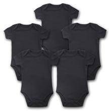 Body de manga corta para bebé, ropa para recién nacido, 5 unidades/lote, traje para bebé, ropa negra de verano
