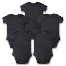 Bodysuits Quần Áo Sơ Sinh 5 Cái/lốc Cơ Thể Bebe Nữ Tay Ngắn Mùa Hè Màu Đen Thương Hiệu Trẻ Sơ Sinh Áo Liền Quần Dài Bé Gái Quần Áo Bé Trai