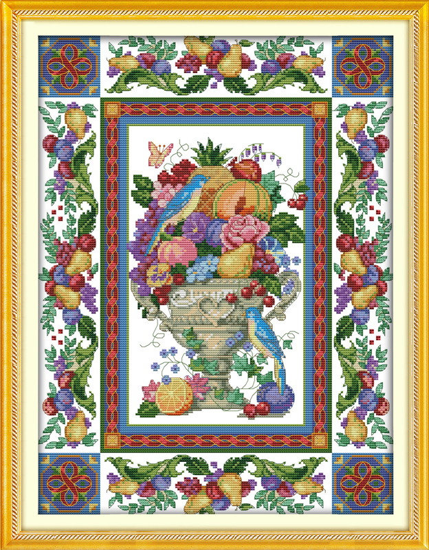 Counted Printed On Fabric Dmc 14ct 11ct Cross Stitch Kits,embroidery Needlework Sets Home Decor Quality And Quantity Assured Impartial Gorgeous Fruit Bowl