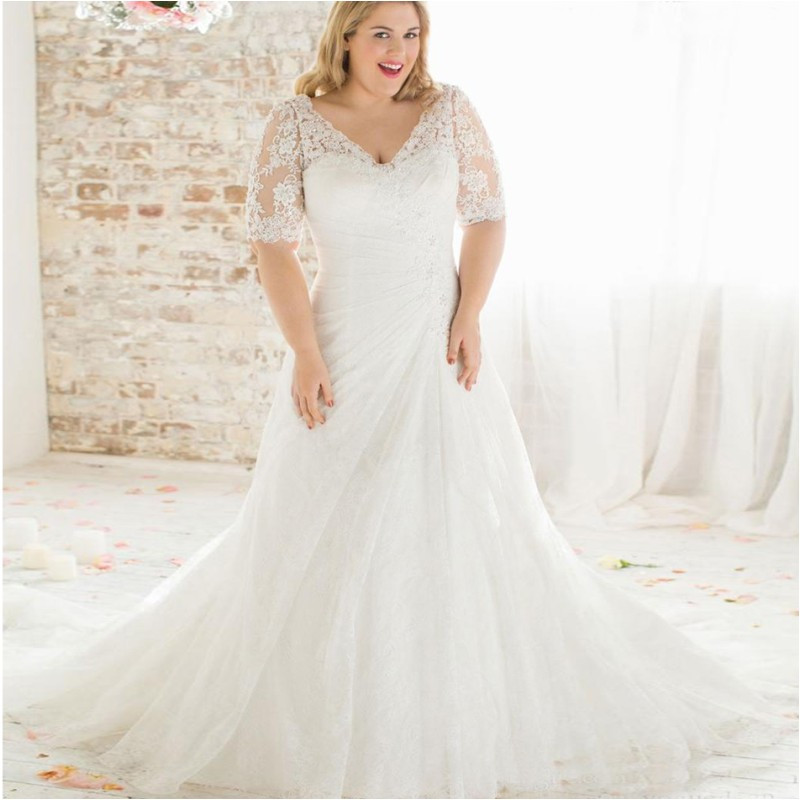 Plus Size Long Sleeve Wedding Gowns: Vestido De Noiva Plus Size Wedding Dress 2016 Lace Half