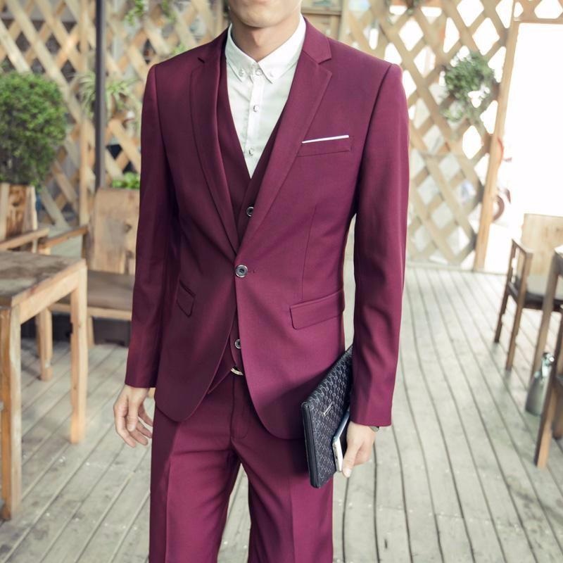 (Jackets+Vest+Pants) New Burgundy black Men Suits Slim Fit Tuxedo Brand Fashion Bridegroon Business Dress Wedding black Suits Blazer (4)_conew1