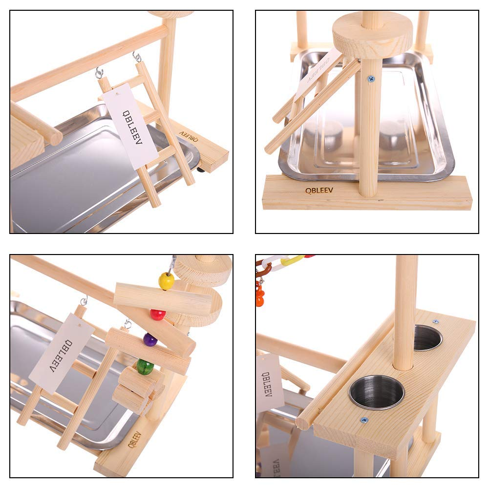 Parrot Playstand Bird Play Stand Cockatiel Playground Wood Perch Gym Playpen Ladder with Feeder Cups Toys (Include a Tray) | Happy Baby Mama