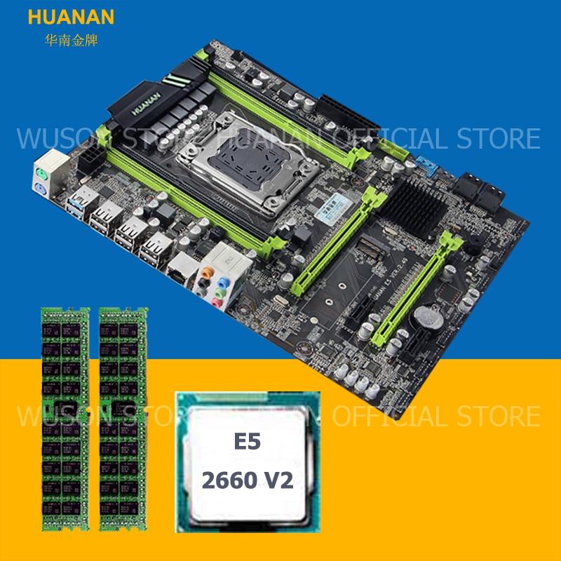 HUANAN X79 motherboard CPU RAM combos X79 LGA 2011 V2.49 mainboard processor Xeon E5 2660 V2 RAM (2*8G)16G DDR3 REG ECC tested