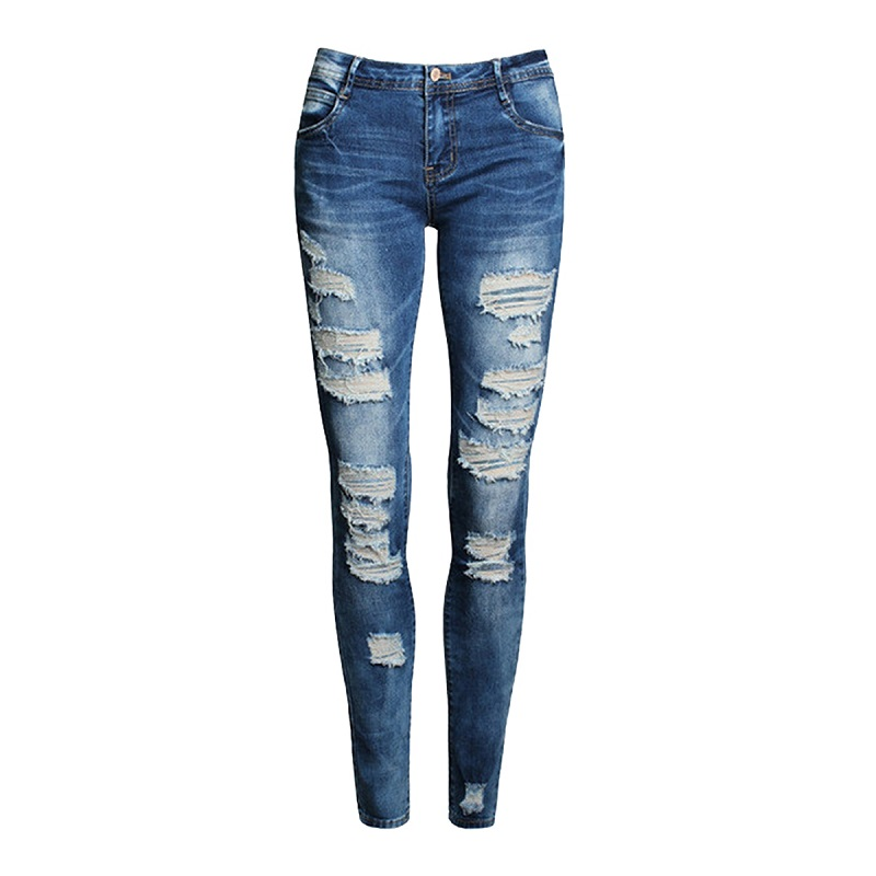 Blue Jeans Pants Stretch Slim-Hole Ripped Denim High-Waist Women New Casual