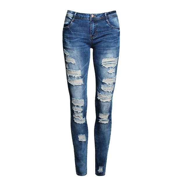 European And American-Style Boutique Stretch Cotton with Holes Boyfriend Pencil Skinny 1