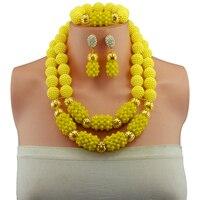 african beads jewelry set handmade crystal bridal nigerian wedding bead necklace set Opaque Yellow