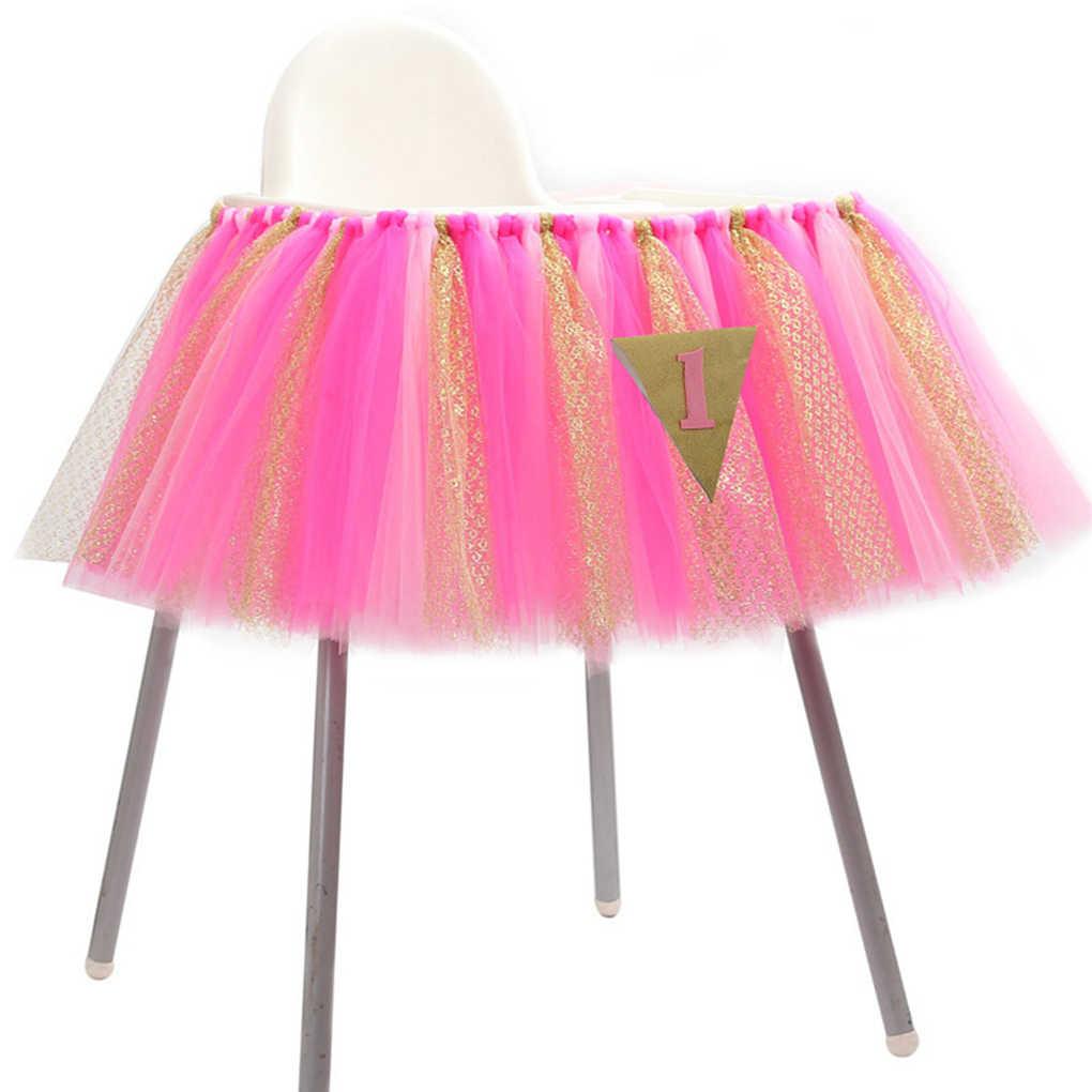 Для новорожденных 1st день рождения высокий стул юбка тюль пачка блеск Baby Shower Скатерть украшения