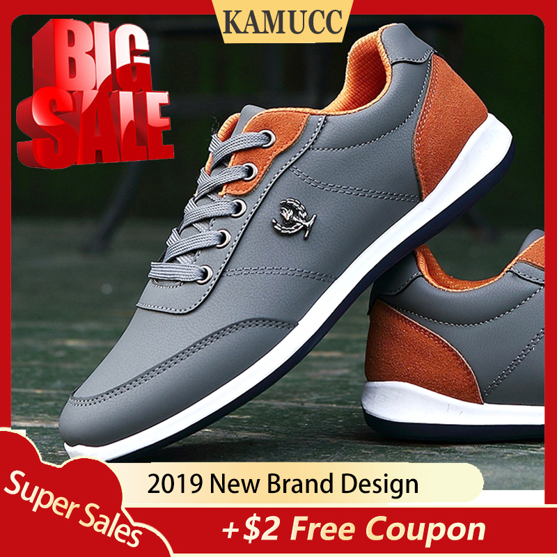 Men's Casual Shoes Sneakers For Men Flats Trainers Walking Shoes Zapatillas British Style Shoe Lace Up PU Leather Men Shoes