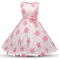2017 Summer Fashion Sunny Girls Dress Pink Embroidered Flower Bow Tie Tulle Party Holiday Princess Wedding