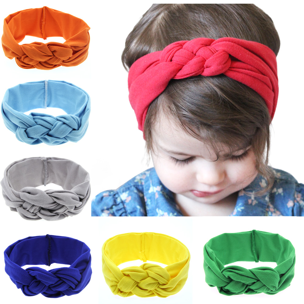 TWDVS Kids Weave Knot Elasticity Hair band Newborn Cotton Hair Accessories Ring Headband T09