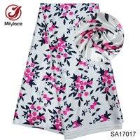 Elastic african Digital print silk satin fabric 5 yards per lot nigerian design stretch satin silk fabric for dress SA17017