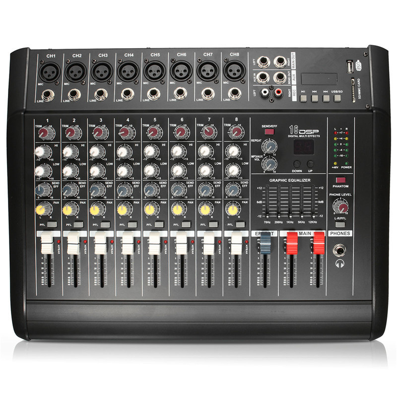 8 Channel Digital Audio Mixer Console Karaoke Microphone Sound Mixing Amplifier Built-in 48V Phantom Power With USB Switch audio mixer cms1600 3 cms compact mixing system professional live mixer with concert sound performance digital 24 48 bit effects