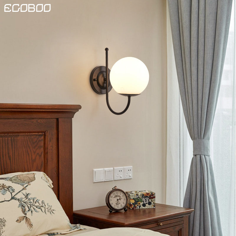 EGOBOO Glass lampshade LED Metal wall light Black wall lamp bedside room bedroom corridor wall lampsEGOBOO Glass lampshade LED Metal wall light Black wall lamp bedside room bedroom corridor wall lamps