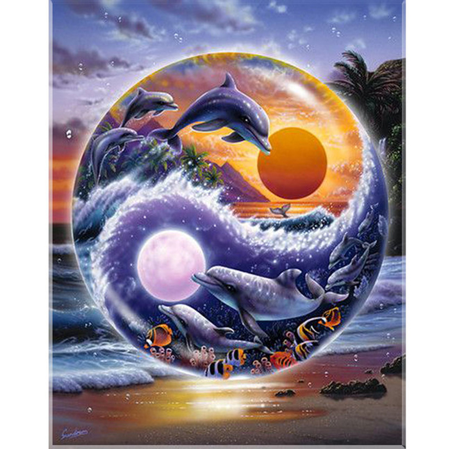 5D square Diamond Painting Dolphins,Sea turtles,Cross Stitch Yin and Yang Dolphins Kit DIY Set Embroidery Rhinestone Home Decor